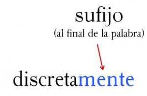 Discretamente es una palabra con el sufijo mente